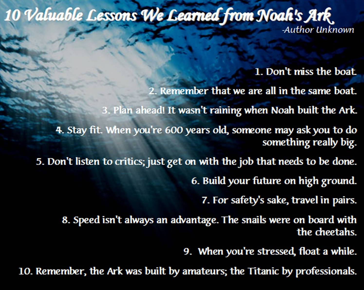 10 Valuable Lessons - Don't miss Wisdom's Boat!